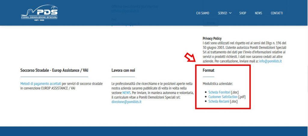 Sezione Format - Modulistica | Pomili Demolizioni Speciali srl