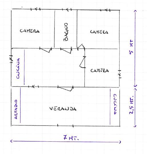 Planimetria casetta | prefabbricato completo di mobili ed elettrodomestici | in ottimo stato per suo non utilizzo | Pomilids