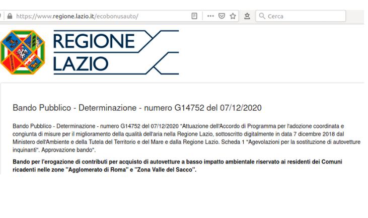 Eco Bonus Auto Regione Lazio