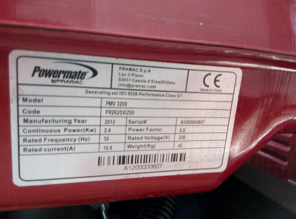Gruppo Elettrogeno Pramac PMV 3200